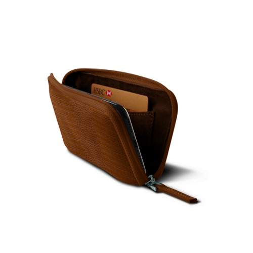 Zipped pouch for iPhone X - Camel - Crocodile style calfskin
