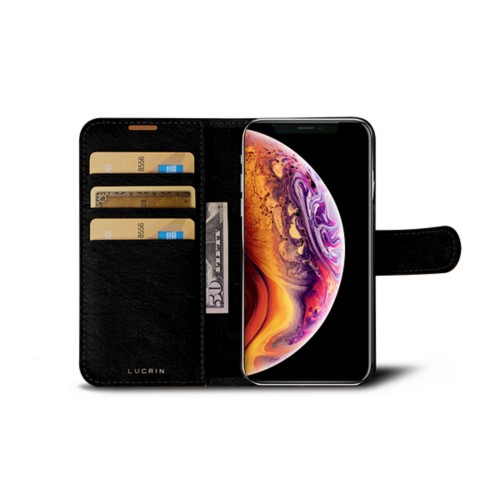 iPhone X Wallet Case - Black - Real Ostrich Leather