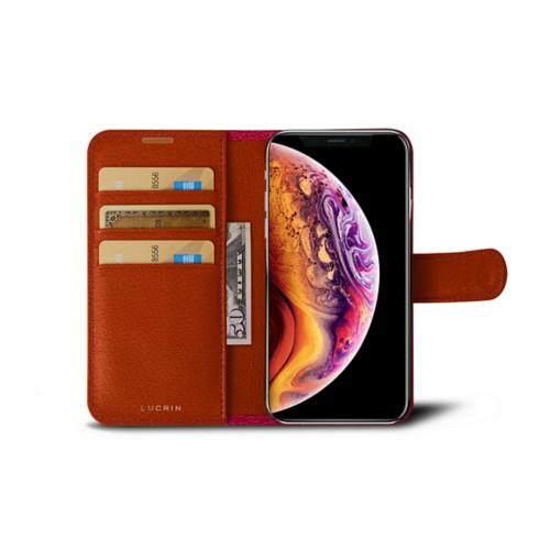 iPhone X Wallet Case - Fuchsia-Orange - Goat Leather