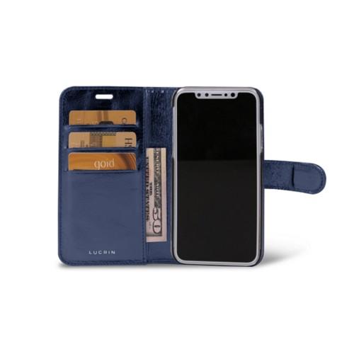 iPhone X Wallet Case - Navy Blue - Metallic Leather
