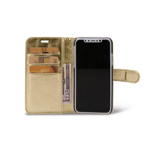 iPhone X Wallet Case - Golden - Metallic Leather