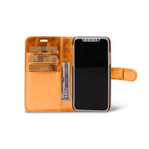 iPhone X Wallet Case - Orange - Metallic Leather