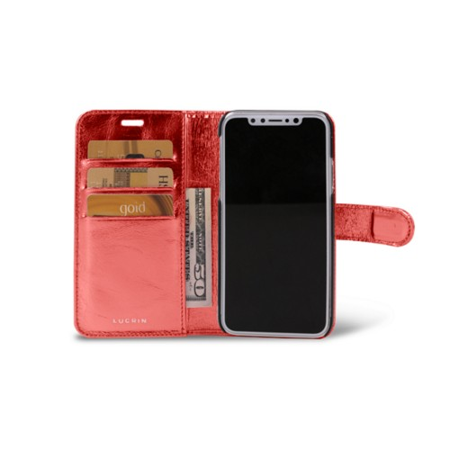iPhone X Wallet Case - Red - Metallic Leather