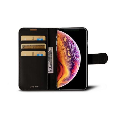 iPhone X Wallet Case - Dark Brown - Smooth Leather