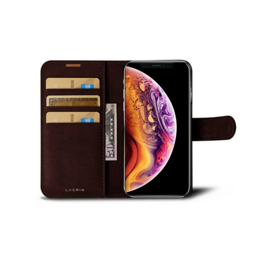 iPhone X Wallet Case - Dark Brown - Vegetable Tanned Leather
