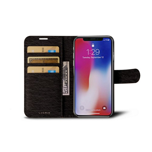 iPhone X Wallet Case - Dark Brown - Real Ostrich Leather