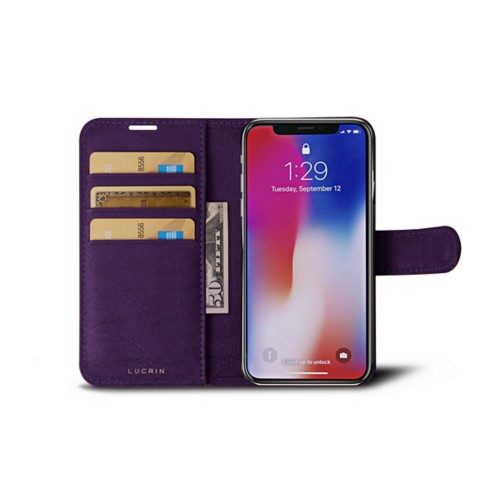 iPhone X Wallet Case - Purple - Real Ostrich Leather