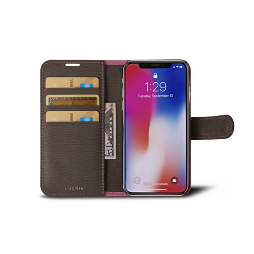 iPhone X Wallet Case - Pink-Dark Taupe - Goat Leather