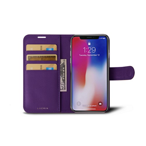 iPhone X Wallet Case - Purple - Goat Leather