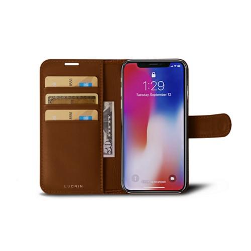 iPhone X Wallet Case - Camel - Crocodile style calfskin
