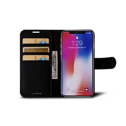 iPhone X Wallet Case - Black - Crocodile style calfskin