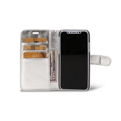 iPhone X Wallet Case - Silver - Metallic Leather