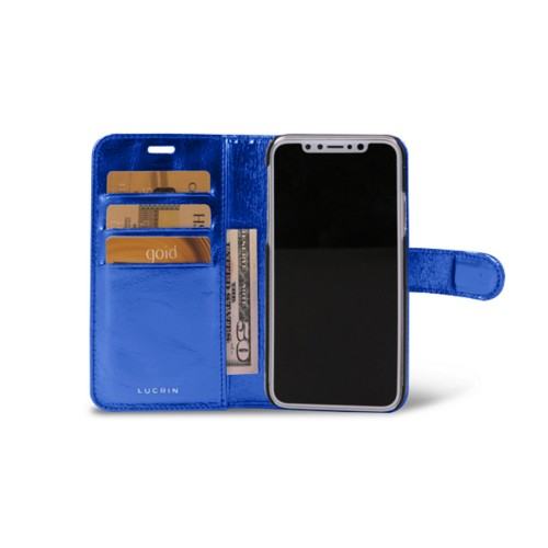 iPhone X Wallet Case - Royal Blue - Metallic Leather