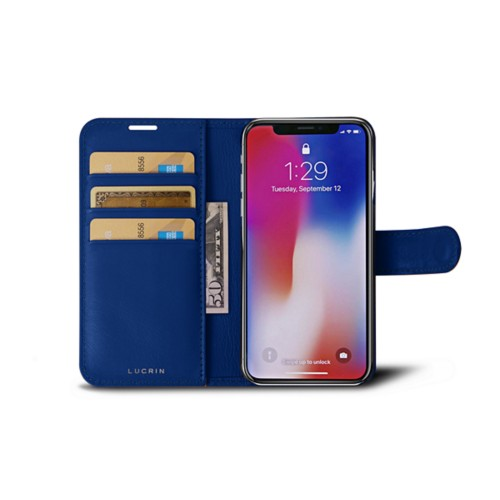 iPhone X Wallet Case - Royal Blue - Smooth Leather