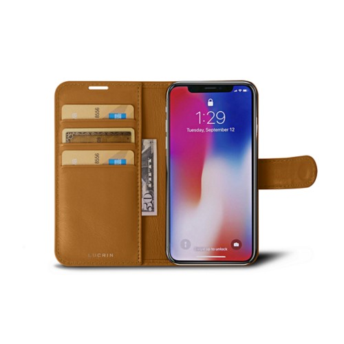 iPhone X Wallet Case - Natural - Smooth Leather