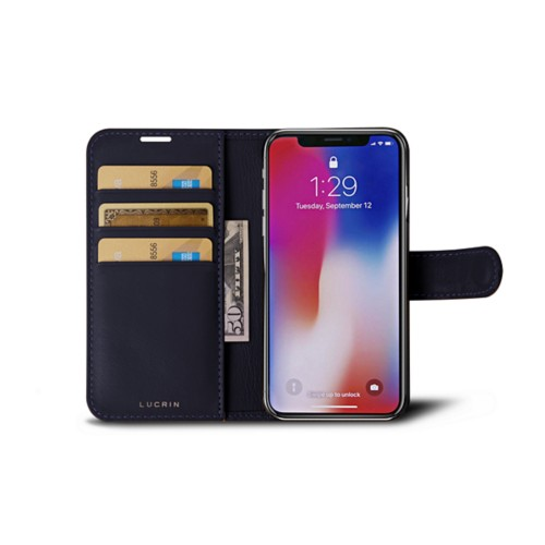 iPhone X Wallet Case - Purple - Smooth Leather