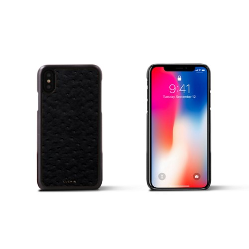 iPhone X Cover - Black - Real Ostrich Leather