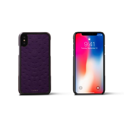 iPhone X Cover - Purple - Real Ostrich Leather