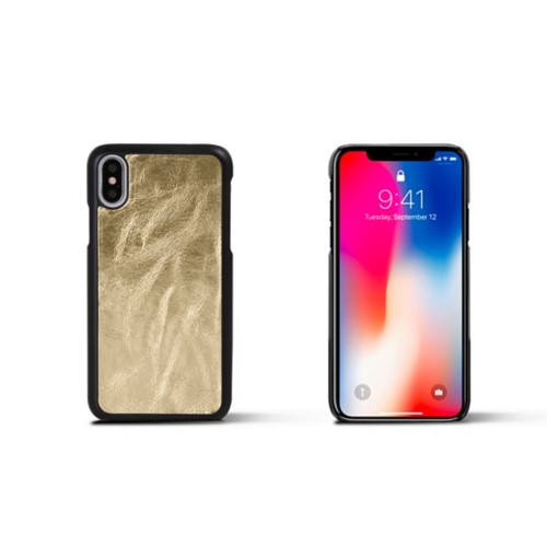 iPhone X Cover - Golden - Metallic Leather