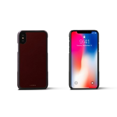 iPhone X Cover - Burgundy - Smooth Leather