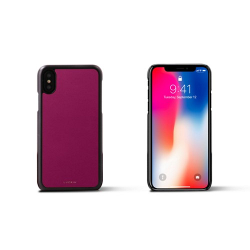 iPhone X Cover - Fuchsia  - Smooth Leather