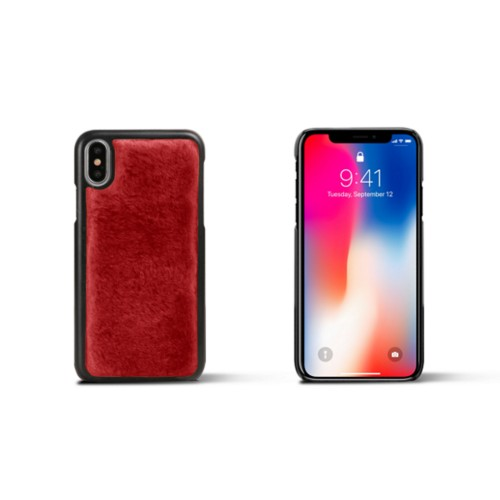 Fur iPhone X Cover - Red - Shearling