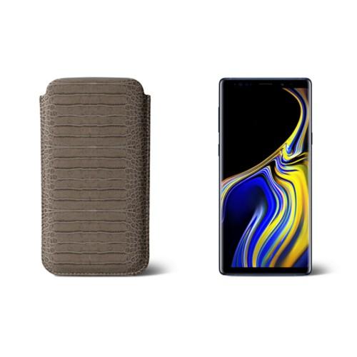 Sleeve for Samsung Galaxy Note 9 - Light Taupe - Crocodile style calfskin