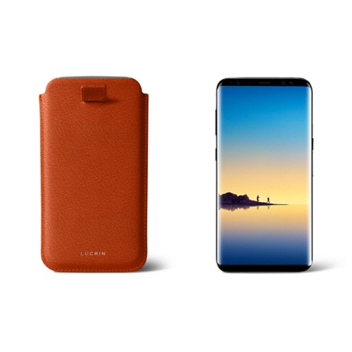 Case with pull-up strap for Galaxy Note 8 - Orange - Goat Leather