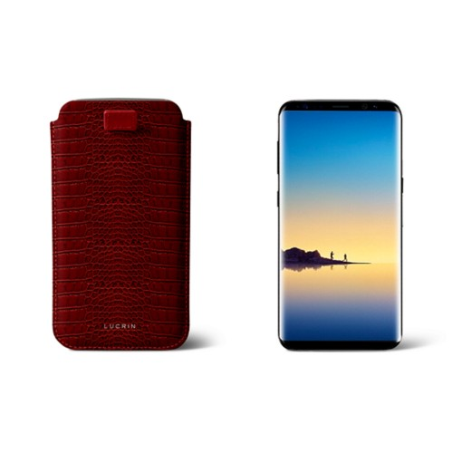 Case with pull-up strap for Galaxy Note 8 - Red - Crocodile style calfskin