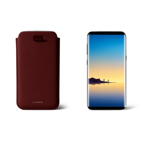 Case with pull-up strap for Galaxy Note 8 - Burgundy - Smooth Leather