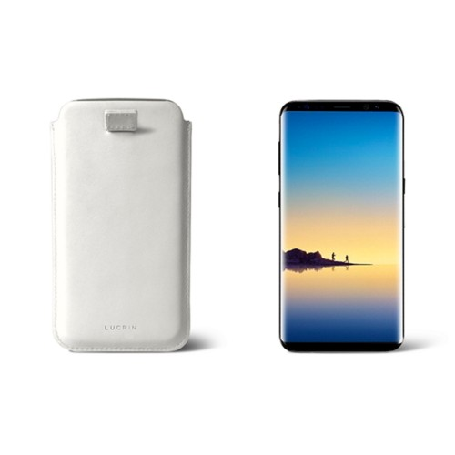 Case with pull-up strap for Galaxy Note 8 - White - Smooth Leather