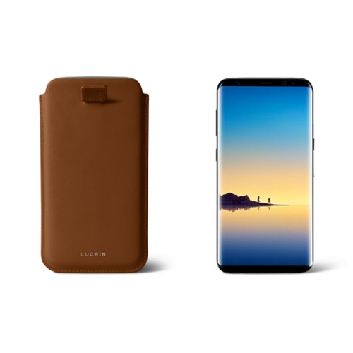 Case with pull-up strap for Galaxy Note 8 - Tan - Smooth Leather