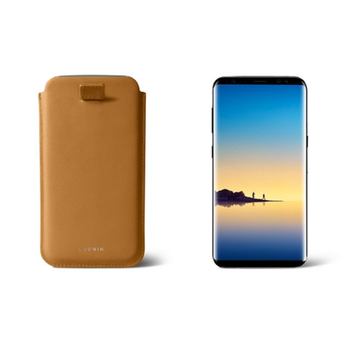 Case with pull-up strap for Galaxy Note 8 - Natural - Smooth Leather