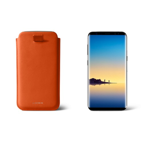 Case with pull-up strap for Galaxy Note 8 - Orange - Smooth Leather