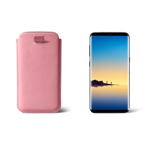 Case with pull-up strap for Galaxy Note 8 - Pink - Smooth Leather
