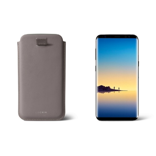 Case with pull-up strap for Galaxy Note 8 - Light Taupe - Smooth Leather