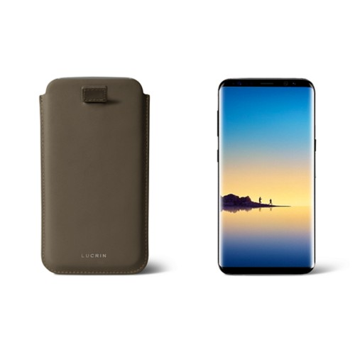 Case with pull-up strap for Galaxy Note 8 - Dark Taupe - Smooth Leather