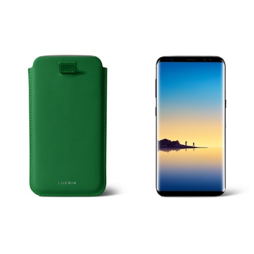 Case with pull-up strap for Galaxy Note 8 - Light Green - Smooth Leather