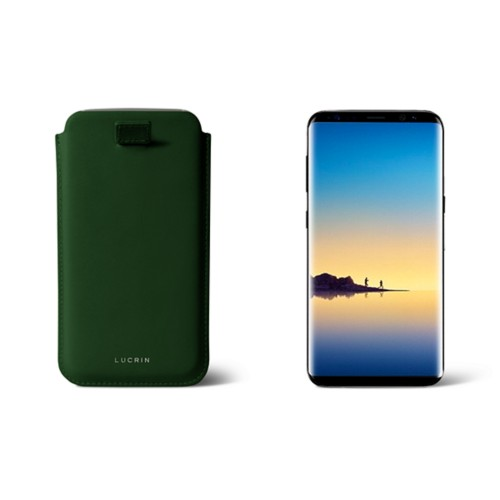 Case with pull-up strap for Galaxy Note 8 - Dark Green - Smooth Leather