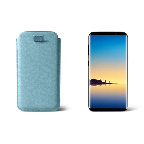 Case with pull-up strap for Galaxy Note 8 - Dark Green - Smooth Leather - Sky Blue - Goat Leather