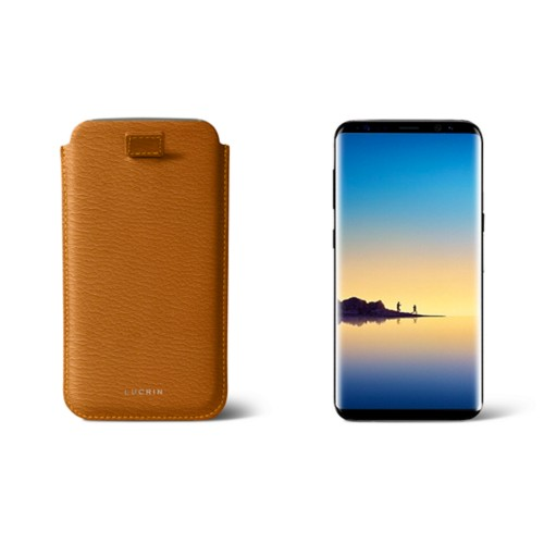 Case with pull-up strap for Galaxy Note 8 - Dark Green - Smooth Leather - Saffron - Goat Leather