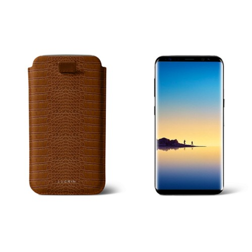 Case with pull-up strap for Galaxy Note 8 - Dark Green - Smooth Leather - Camel - Crocodile style calfskin