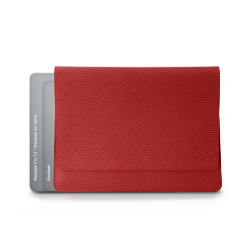 "Folder for Apple devices (max. 13"") - Red - Granulated Leather"