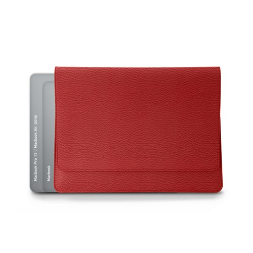 Envelope Pouch - MacBook Air 2018 - Red - Granulated Leather