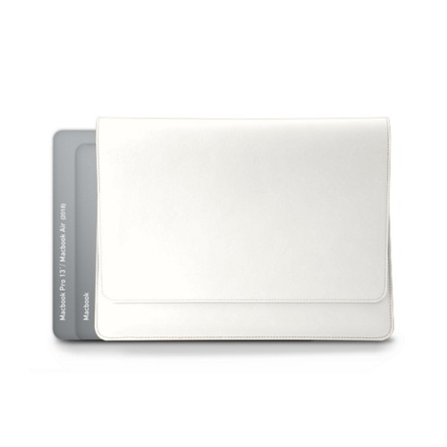 封筒型ポーチ - MacBook Air 2018 - White - Smooth Leather