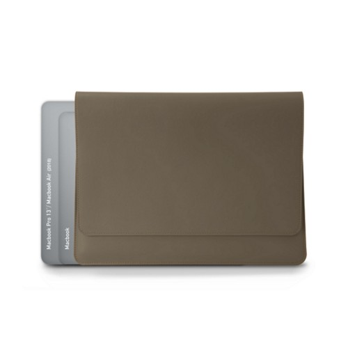 封筒型ポーチ - MacBook Air 2018 - Dark Taupe - Smooth Leather
