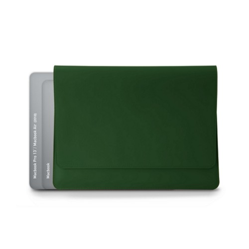 封筒型ポーチ - MacBook Air 2018 - Dark Green - Smooth Leather