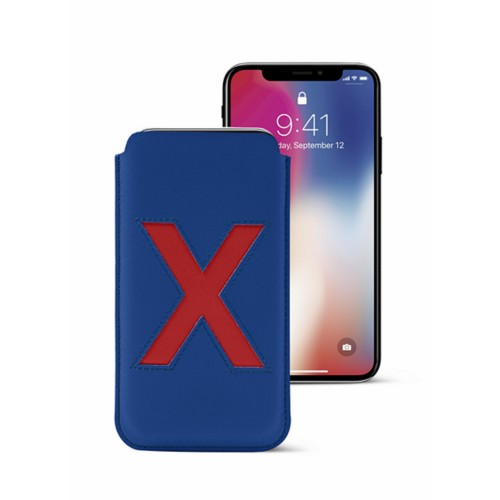 iPhone X Special Edition Case - Royal Blue-Red - Smooth Leather