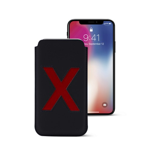 iPhone X Special Edition Case - Black-Red - Smooth Leather