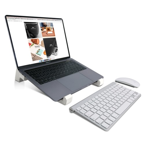 Laptop stand - White - Smooth Leather